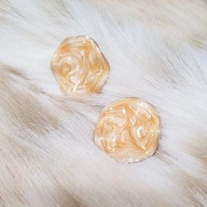 Vintage Champagne Swirl Enameled Button Earrings